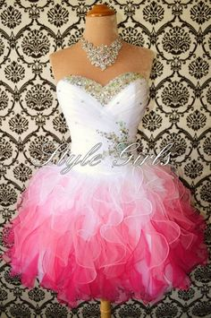 Sweetheart White/Red Mini Rhinestone Organza prom dress/homecoming dre | Stylegirls - Clothing on ArtFire