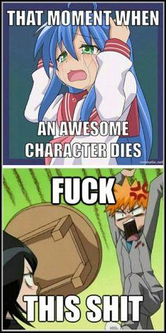 That moment when an awesome character dies, f*** this s***, funny, text, Izumi Konata, crying, sad, Lucky Star, Ichigo, Rukia, Bleach, crossover; Otaku