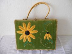 """Vintage """"Midas of Miami"""" Sunflower Wicker Design Purse"""