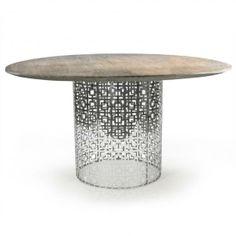 Nixon Dining Table- silver w/ picked oak