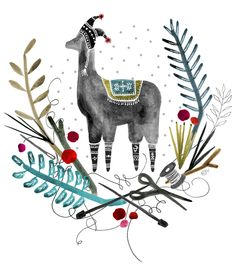 Inspired by… Katie Vernon Alpacas, Art And Illustration, Illustrations, Alpaca Drawing, Grafik Design, Christmas Art, Xmas, Sketches, Art Prints