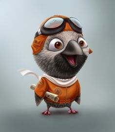 Adventurer by Kuryatnikov Anton #bird #character #design #art #painting #cute #cartoon