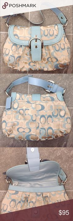 "Coach shoulder bag Signature jacquard shoulder bag with light tan and blue leather Inside zip and multifunction pockets Magnetic clasp purse 12"" (L) x 8.5"" (H) x 2"" (W)  Condition: Like New Coach Bags Shoulder Bags"
