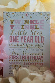 Twinkle, Twinkle Little Star, One Year Old is What You Are pink and gold first birthday party! 1 Year Old Birthday Party, Pink And Gold Birthday Party, Girls Birthday Party Themes, Baby Girl First Birthday, First Birthday Parties, Birthday Ideas, Thing 1, 1st Birthdays, Twinkle Twinkle