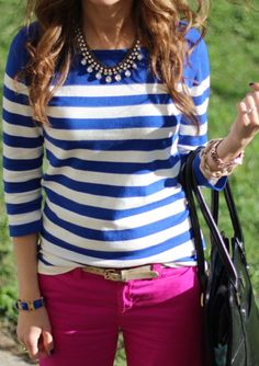 I have the exact opposite look - pink/white top and bright blue coloured demin