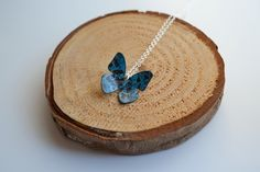 A patinated copper butterfly hung from a sterling silver chain. Butterfly measures Chain length: Copper has been treated with a clear lacquer to keep the gorgeous blue! Each necklace is made to order so each one is comple. Butterfly Necklace, Summer Days, Sterling Silver Chains, Copper, Unique, Brass