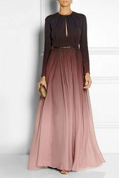 Dégradé silk-georgette gown by Elie Saab Black, dark-purple and grape dégradé silk-georgette Hook and zip fastening at back silk Dry clean Muslim Fashion, Modest Fashion, Hijab Fashion, Fashion Dresses, Boho Fashion, Fashion Beauty, Fashion Tips, Mode Abaya, Mode Hijab