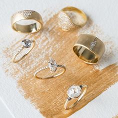 Chunky gold wedding rings and one of a kind diamonds for the alternative bride.