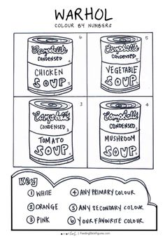 Andy Warhol Soup Can Colour By Numbers   Feeding Stick Figures