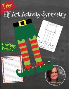 Free - Christmas Elf Legs Art Activity & Writing Prompt -  Christmas Art Lesson