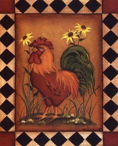 Posterazzi Red Rooster I Canvas Art - Kim Lewis x Chicken Painting, Chicken Art, Chicken Crafts, Rooster Art, Red Rooster, Naive, Arte Do Galo, Chicken Pictures, Images Vintage
