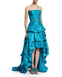 B33SP Oscar de la Renta Strapless Tiered-Ruffle High-Low Gown, Aqua