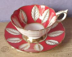 Antique Red and White Tea cup, Royal Stafford red tea cup and saucer, English bone china tea cup, red and gold English teacup