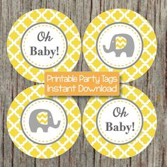 Elephant Yellow Grey Quatrefoil Cupcake Toppers Baby Shower by BumpAndBeyondDesigns, $4.00