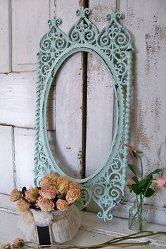 Soft aqua ornate frame large vintage cottage by AnitaSperoDesign, $140.00. Recreate