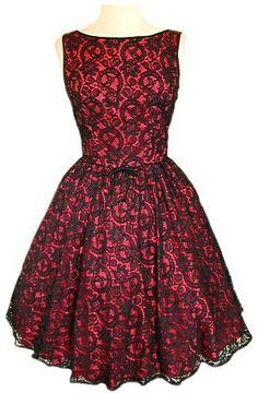 Vestidos con encaje rojo y negro