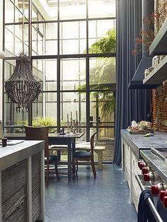Windows and chandelier kitchen