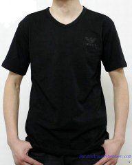 T-shirt à Manches Courtes Giorgio Armani Homme Pas Cher Col V Noir