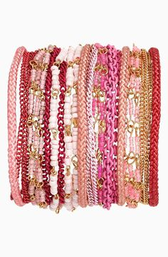 Pink arm candy.