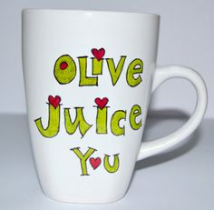 Olive You Mug  Valentines Day Gift  I Love You  by DreamAndCraft, $15.00