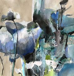"Aspirations-Abstract Botanical by Joan Fullerton Mixed Media ~ 15"" x 15""   A blue flower (German: Blaue Blume) is a central symbol of inspiration. It stands for desire, love, and the metaphysical striving for the infinite and unreachable. It symbolizes hope and the beauty of things."