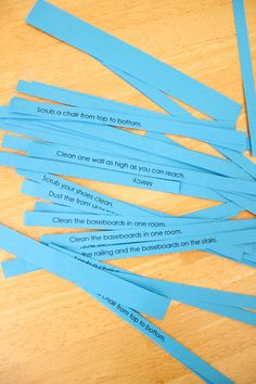 "Kids pick a ""consequence"" from the blue slip jar. If they pick ""Mercy,"" they don't have to do a chore. Instead, they have a few minutes of quiet time to think about how God gives us mercy even when we don't deserve it. :: delia creates: Pin Test: Parenting With Glitter and Blue Slips"