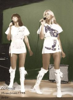 Agnetha Fältskog (at right) and Anni-Frid Lyngstad of ABBA Frida Abba, Celebrity Boots, Women Of Rock, Popular Music, Female Singers, Pop Music, Belle Photo, Pop Group, Lady