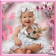Picmix Gif, Cute Baby Girl Images, Vote Sticker, Photo Picture Frames, Cute Babies, Father, Children, Good Morning Gif, Beautiful Babies