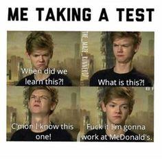 The Maze Runner Funny F*ck exams Books Funny School Memes, Crazy Funny Memes, Really Funny Memes, School Humor, Stupid Memes, Funny Relatable Memes, Haha Funny, Funny Texts, Funny Jokes