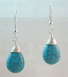 wire wrapped jewelry | ... > Turquoise Teardrop Silver Wrapped Wire Wrap Drop Dangle Earrings