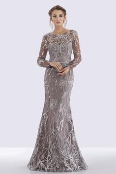 Feriani Couture 26258 Silver/Charcoal Color Available Size 16 Ready To Ship Authentic Mother Of The Bride Dresses Long, Mother Of Bride Outfits, Long Sleeve Evening Gowns, Evening Dresses, Couture Dresses, Fashion Dresses, Hijab Fashion, Fashion Tips, Mob Dresses