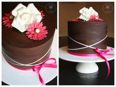 Simply Ganache - 40th Cake. This one was made for my sis in laws surprise party :) I love the simplicity of the clean crisp chocolate ganache & the flowers & ribbons :)