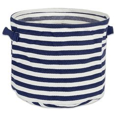 Design Imports Collapsible Fabric Striped Large Round Storage Bins In Grey (Set Of 2) Blue - This Design Imports Collapsible Fabric Striped Storage Bin Set provides a fashionable and practical storage solution for your essentials. Boasting a stripe pattern with coordinating handles, the bins can collapse for storage when not needed. Laundry Bin, Laundry Hamper, Laundry Room, Large Storage Bins, Herringbone, French Blue, Hampers, Stripe Pattern, Cleaning Supplies