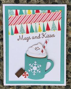 IHot Cocoa Cups Die-namics, Hug in a Mug stamp set; MFT, winter