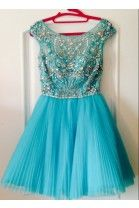 Simple-dress Elegant Beading Scoop Capped Short Tulle Homecoming Dresses/Party Dresses TUPD-7389
