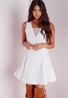 V-Neck Lace Insert Swing Dress White