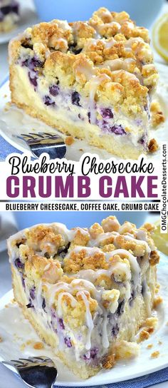 Blueberry Cheesecake Crumb Cake is delicious combo of two mouthwatering desserts.Blueberry Cheesecake Crumb Cake is delicious combo of two mouthwatering desserts: crumb cake and blueberry cheesecake. With this simple and easy dessert recipe Köstliche Desserts, Chocolate Desserts, Healthy Desserts, Dinner Healthy, Healthy Recipes, Easy Recipes, Food Deserts, Crockpot Recipes, Healthy Drinks
