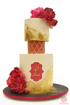 Gold Leaf and Peony Birthday Cake for our friend Laura!