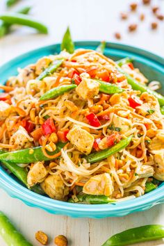 Peanut Chicken with Peanut Noodles - Easy, ready in 20 minutes, tastes better, and way healthier than takeout!! Peanut sauce automatically makes everything taste AMAZING!!
