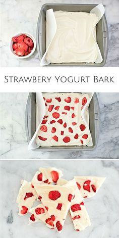 Easy strawberry yogurt bark. A refreshing twist on eating yogurt and yummy snack for the kids!
