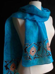 Art Nouveau style silk scarf 14x72 inches  by FantasticPheasant, $35.00