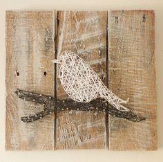 Bird on a Branch String Art Reclaimed Wood by ElevenOwlsStudio