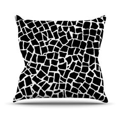 "Project M ""British Mosaic Black"" Throw Pillow | KESS InHouse"