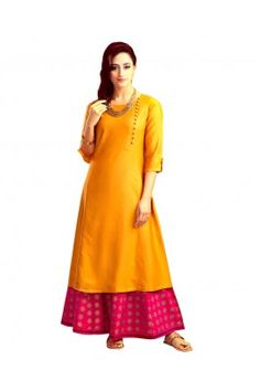 Ethnic Basket Yellow and Pink Brocade Worked Semi Stitched Jacquard Kurti with Palazzo Salwar Suits Online, Designer Salwar Suits, Ethinic Wear, Ethnic Gown, Palazzo Suit, Tailored Suits, Anarkali Suits, Suits For Women, Kurti