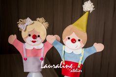 Decoração Circo - Fantoches Palhacinhos #feltclown #palhaço  #fantoches #fantochesdefeltro #palhaçodefeltro #felt #decoraçãocirco #feltro #circusparty #festacirco #lauralineatelier