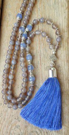 Achat - Mala 108 Achate Jeans Blau Seiden-Quaste silber - ein Designerstück von weibsbild bei DaWanda