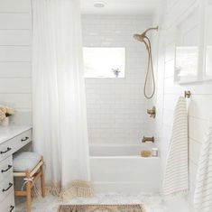 Hey hey it's Master Bath reveal day! We started with a barely space, one sink and a disgusting yellowing fiberglass jacuzzi tub, and… Hexagon Tile Bathroom, Bathtub Tile, Bathroom Flooring, Jacuzzi Tub, Wood Floor In Bathroom, Carrara Marble Bathroom, Bathroom Wall, Subway Tile Showers, Bathroom Renos