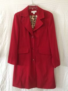 Solid Red Coat Size M Leopard Print Lining by Preston & York NICE Machine Wash #PrestonYork #Trench #CareerDressyParty