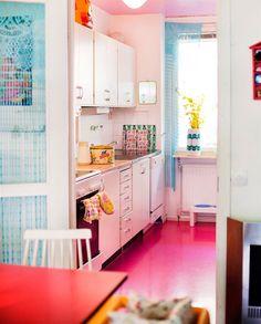 Roze kleur op de vloer