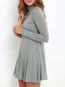 Grey High Neck Casual Dress